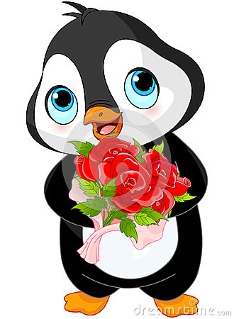 Cute Valentine Day Penguin Stock Vector Image 49155956