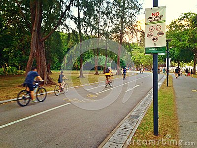 Cycling and walking in East Coast Park