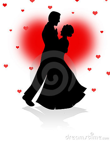 Dancing Couple With Red Hearts Background Royalty Free
