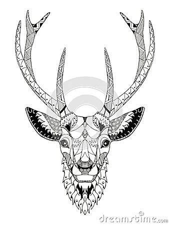 Deer Head Zentangle Stylized Stock Vector Image 66132321