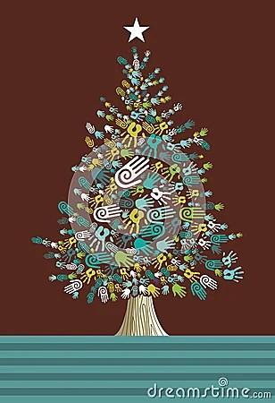 Diversity Christmas Tree Hands Card Stock Photos Image