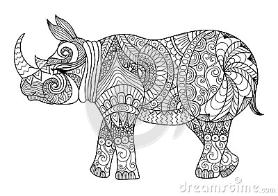 Drawing Zentangle Rhino For Coloring Page Shirt Design