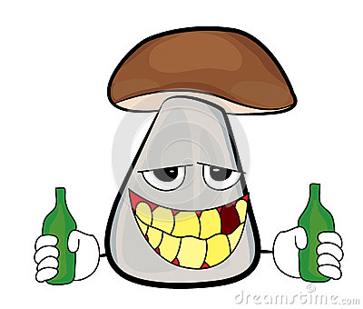 Drunk mushroom cartoon