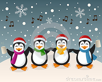 Drunk Penguins Singing On The Snow Stock Vector Image