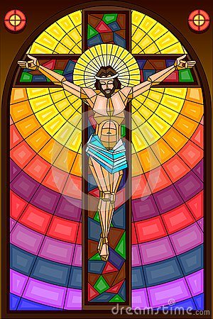 Stained Glass Painting Of Crucifixion Royalty Free Stock
