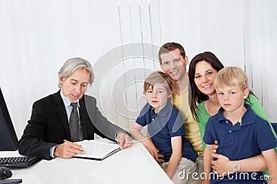 Family at business advisor office
