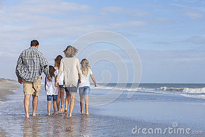 Family Parents Girl Children Walking on Beach