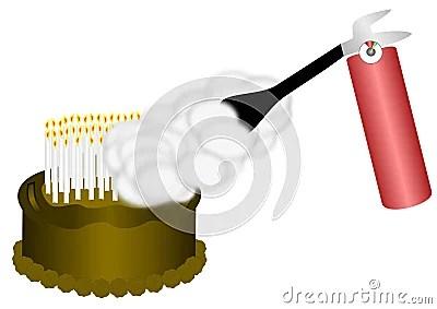 Fire Extinguisher On Birthday Cake Stock Photos Image