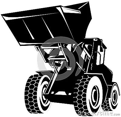 bulldozer clipart black and white front loader black white