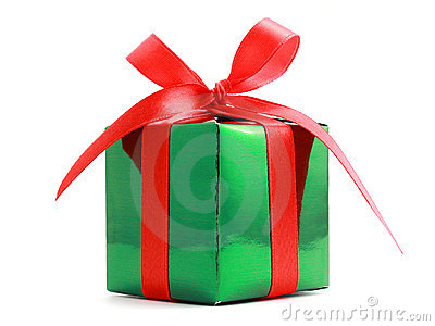 Gift Wrapped Present With Red Bow Royalty Free Stock