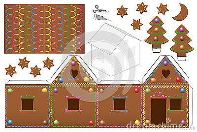 Gingerbread House Candies Paper Model Stock Vector Image
