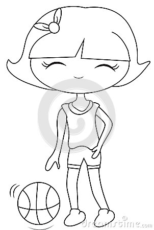 girl with a basketball coloring page stock illustration image