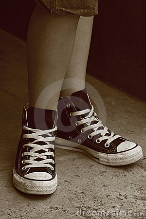 Girl S Feet In Converse Sneakers Stock Image Image 4636261