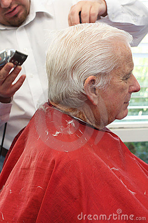 Grandpa Gets A Haircut Royalty Free Stock Images Image