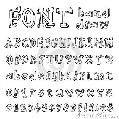 Hand Drawn Alphabet Handwritten Font Stock Vector Image
