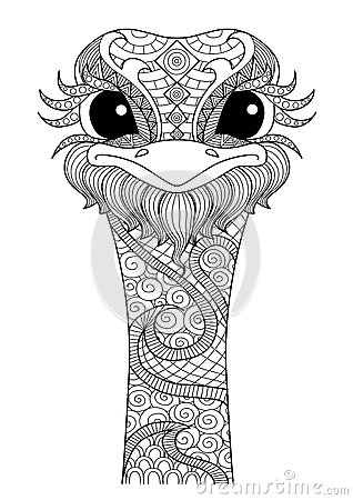 Hand Drawn Zentangle Ostrich Stock Vector Image 60783597