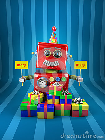 Happy Birthday Robot Stock Images Image 27003074