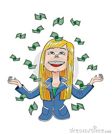 Happy Girl Winner Money Flying Vector Stock Vector Image