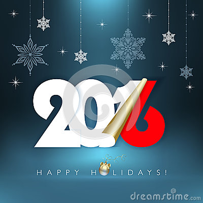 2016 new year happy holidays background with snowflakes