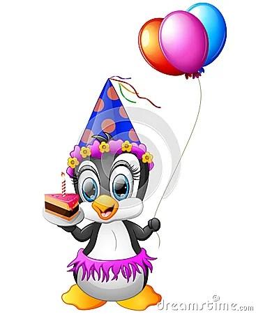 Happy Penguin Cartoon Holding Birthday Cake And Balloon