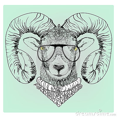 Hipster Portrait Of Ram With Glasses Stock Vector Image