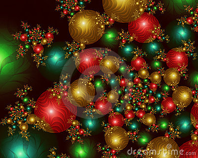 Infinite Christmas Balls Fractal Image Stock Images