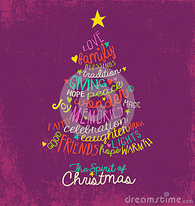 Inspirational Word Cloud Christmas Tree Greeting Card