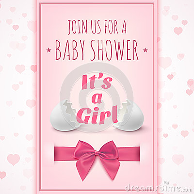 Its A Girl Template For Baby Shower Celebration Stock Vector Image 53279975