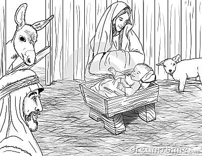 Jesus Geboren In Der Krippe Lizenzfreie Stockfotografie