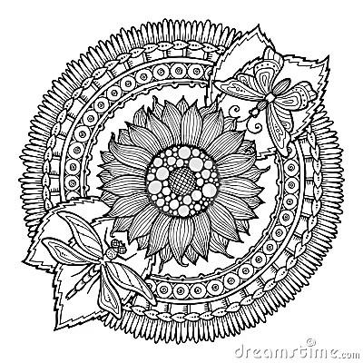 Kreissommer Gekritzelblume In Der Mandala Vektor Abbildung