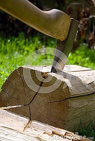 La hache coupe le bois.