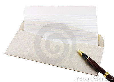 Letter Paper, Envelope And Pen Stock Photos - Image: 5956953