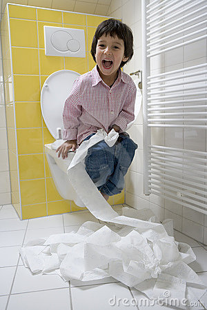 Little Boy Has A Lot Of Fun With Toilet Paper In Royalty Free Stock Photos Image 11309208