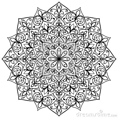 Mandala With Black Contour Stock Vector Image 59523888