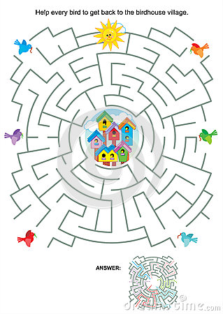 Maze Game For Kids Birds And Birdhouses Royalty Free
