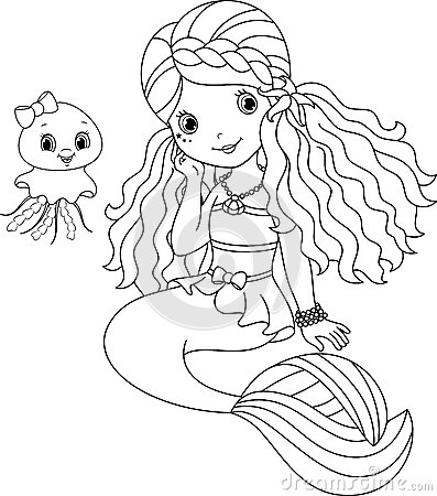 black and white mermaid under water stock illustration image