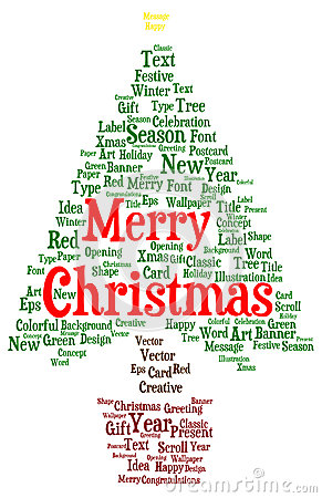 Merry Christmas Word Cloud In A Shape Of A Christmas Tree