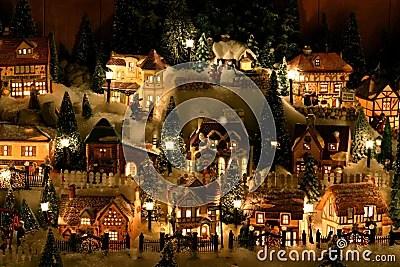 Miniature Christmas Village Stock Images Image 342384