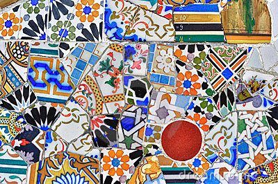 Mosaic detail in Guell park in Barcelona