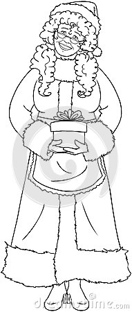 mrs santa claus holding a present coloring page royalty free stock