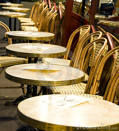 Night Paris France Cafe Tables Chairs Stock Photos Image