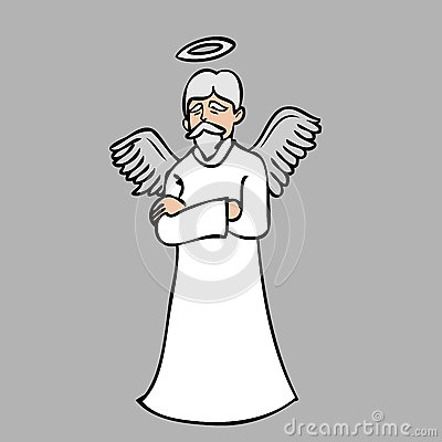 Old Beard Man Angel Stock Vector Image 41994843
