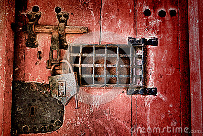 Old Lock And Locking Hardware On Antique Jail Door Stock