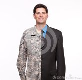 Free Portrait Of A Young Man With Split Careers Businessman And Soldier. Stock Images - 32648454