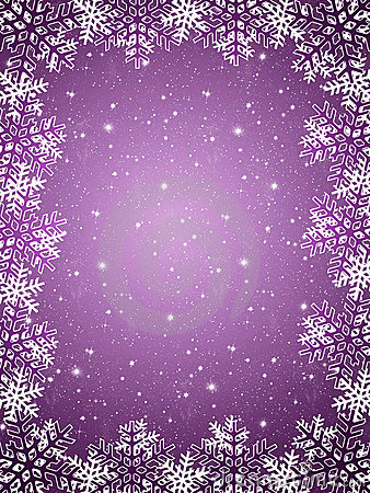 Purple Background With Snowflakes Royalty Free Stock