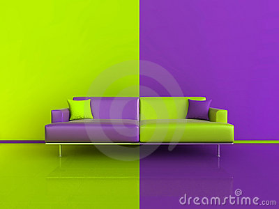 PurpleGreen Contrast Interior Royalty Free Stock Photo