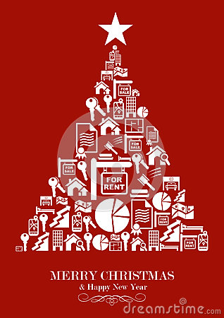 Real Estate Industry Christmas Tree Royalty Free Stock