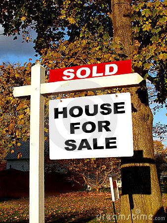 Real Estate Sold And House For Sale Sign On Post Royalty