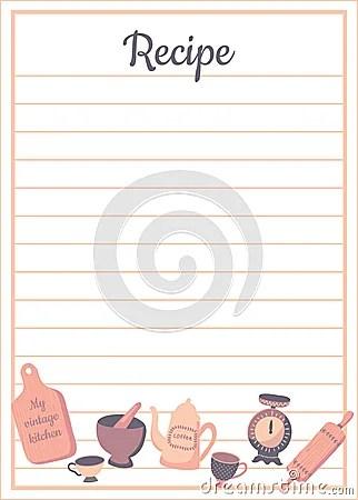 Recipe Card Vert Stock Vector Image 72367472