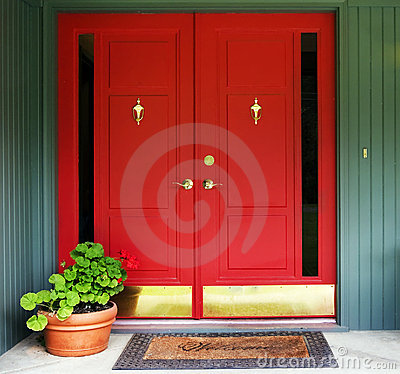 Red Double Door Entry Royalty Free Stock Images Image